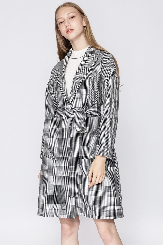 Black Check Belted Coat